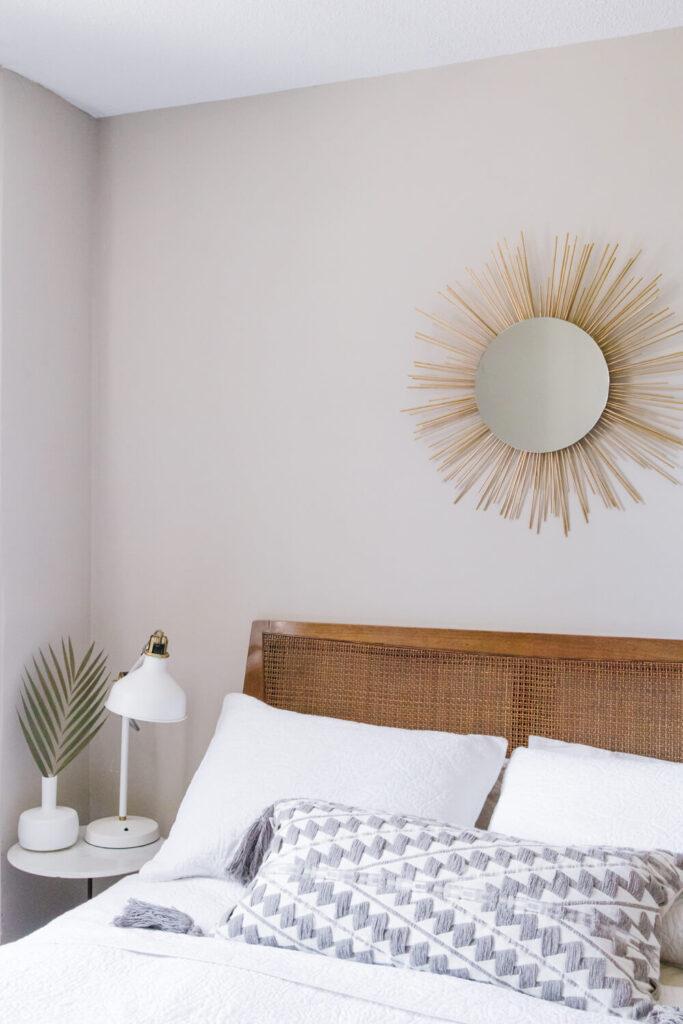 DIY Starburst Mirror Above Can Headboard Bed