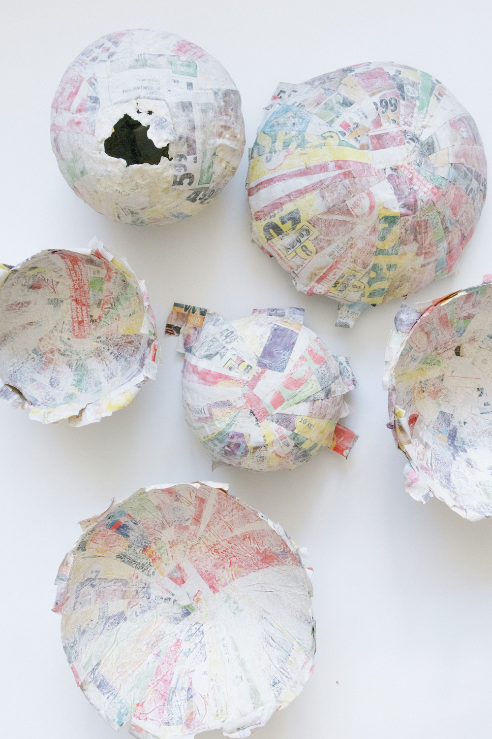 Paper mache using bowls and balloons