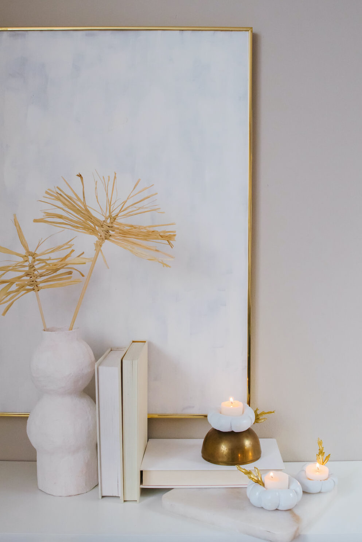 Plaster of Paris Pumpkin Candle Holder, DIY Modern Home Decor
